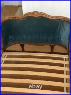 Antique French Corbeille pair of single beds with upholstered head & footboard
