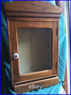 Antique French Country medicine cabinet wood cupboard furniture Pharmacy Hanging