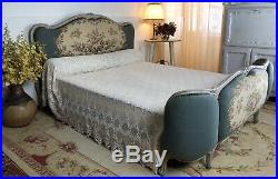 Antique French Demi Corbeille Upholstered Kingsize Bed Frame