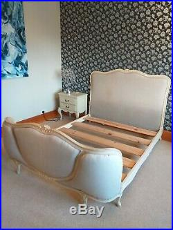 Antique French Demi Corbielle/Corbeille Double Bed Frame Shabby Chic upholstered
