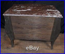 Antique French Empire Chest Drawers Bombe Form Marquetry Commode