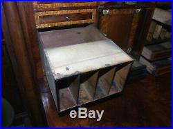 Antique French Empire abattant SECRETAIRE DESK secret drawers flame mahogany