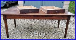 Antique French Farmhouse Dining Table over 6 feet long seats 8, solid sturdy