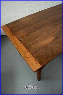 Antique French Farmhouse Oak Refectory Table Plank Top Rustic