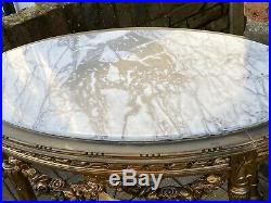 Antique French Gilt Marble Top Oval Table With Gorgeous Swags Of Roses Detail