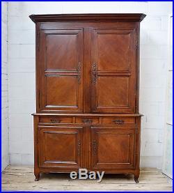 Antique French Houskeepers Cupboard / Kitchen Hutch Buffet Dresser in chestnut