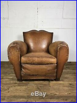Antique French Leather Moustache Back Leather Club Chair