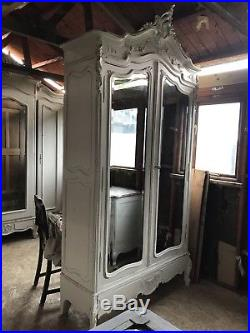Antique French Louis Armoire Wardrobe Mirrored doors