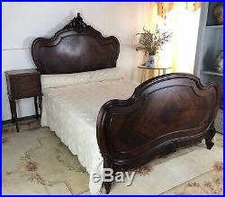 Antique French Louis Style Carved Walnut Double Bed Frame