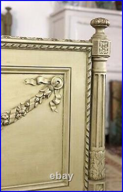 Antique French Louis Style King Size Bed Frame Original Rustic Olive Green Paint