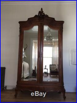 Antique French Louis XV Double Armoire Wardrobe Mirrored doors Super Condition