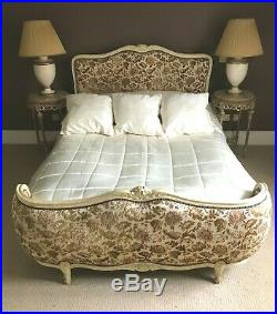 Antique French Louis XV Double Bed Carved Oak Upholstered Frame Luxury Mattress