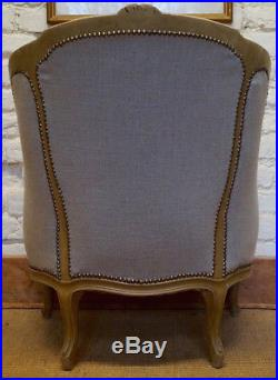 Antique French Louis XV Gondola Bergere Armchair in a Hemp Linen Fabric
