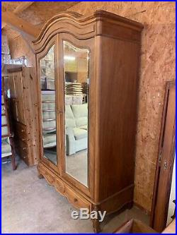 Antique French Louis XV Style Armoire / Mirrored Door Wardrobe