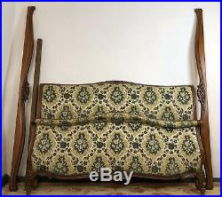 Antique French Louis XV Style Upholstered Kingsize Scroll End Bed Frame