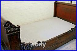 Antique French Mahogany & Walnut Rococo Style Single Bed Frame (Can Deliver)