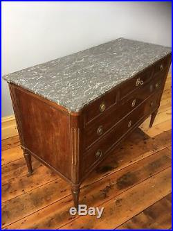 Antique French Marble Topped Commode / Victorian Chest Of Drawers