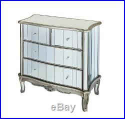 Antique French Mirrored 4 Chest of Drawers Fully Assembled Glass Shabby Chic New
