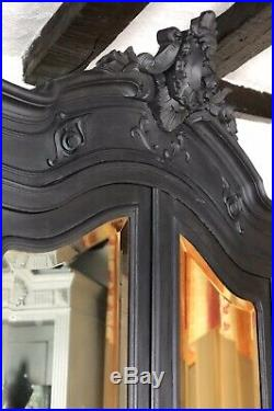 Antique French Mirrored Armoire Wardrobe Linen Cupboard Painted In Charcoal Grey