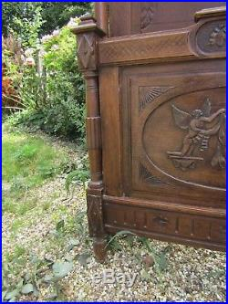 Antique French Original Carved Double Wooden Bed Would Look Stunning Painted
