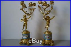 Antique French Ormolu Sevres 19th Century Candelabras. A Pair