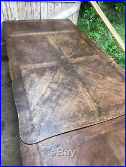 Antique French Parquet Oak Extending Dining Table 6 7 8 9ft Seats 10