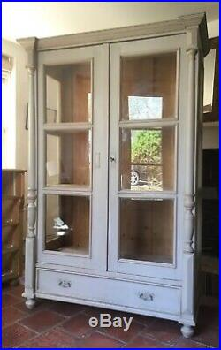 Antique French Pine Glazed Display Cabinet Glass Cupboard Bookcase Dresser Shop