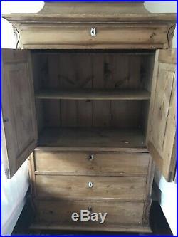 Antique French Pine Linen Cupboard Dresser