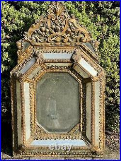 Antique French Repoussé Brass Cushion Mirror Victorian c1840