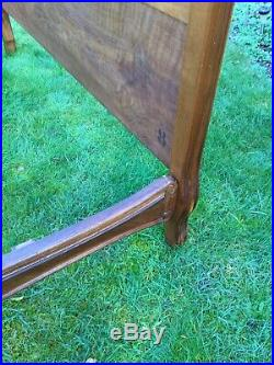 Antique French Rococo Crested Bed Frame 1900s Wood Carved Small Double Vintage