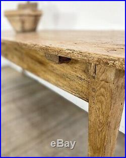Antique French Rustic Pine Country Farmhouse Kitchen Dining Table