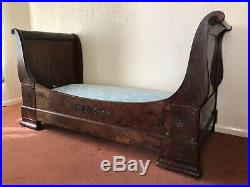 Antique French Single Sleigh Bed With Mattress