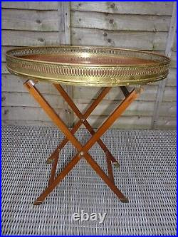 Antique French Style Mahogany & Brass Galleried Folding Butlers Tray Top Table