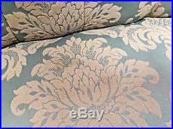 Antique French Style Salon Sofa Mahogan Button Back Dix Blue/Green Brocade