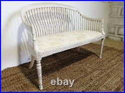 Antique French Style Slat-back Hall Bench Settle Pew Pine Love Window Seat