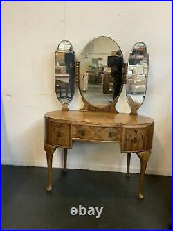 Antique French Style Walnut Dressing Table With Mirror