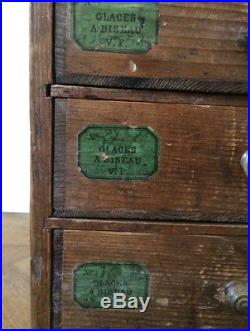 Antique French Watchmakers Engineers Industrial Haberdashery Bank of Drawers