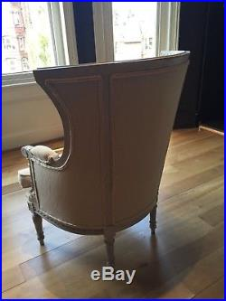Antique French armchair upholstered in Designers Guild linen fabric