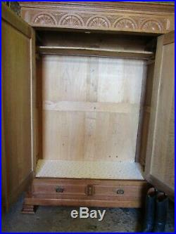 Antique French carved lions head light oak armoire, wardrobe, Flat packs C1900