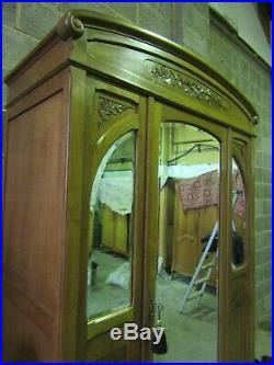 Antique French carved medium oak 3 mirror armoire, wardrobe, Flat packs C1900