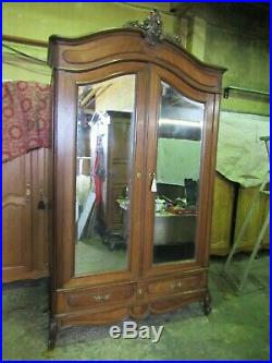 Antique French carved mirror doored mahogany armoire, wardrobe, Flat packs C1900