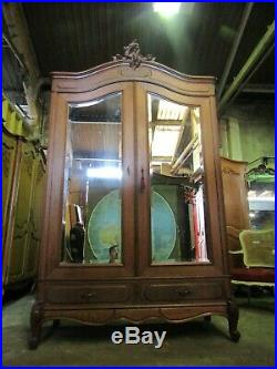 Antique French carved oak 2 door mirrored armoire, wardrobe, Flat packs C1900