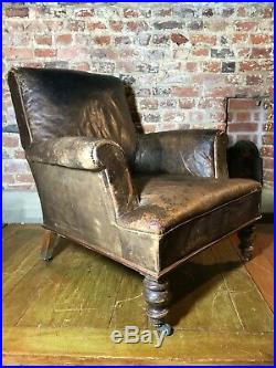 Antique French country house leather chair