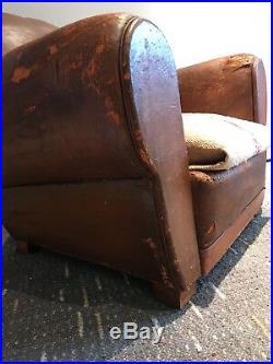 Antique French moustache back Leather Club Chair