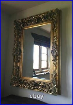 Antique Gold Decorative French Ornate Over mantle Statement Wall Mirror 4ft