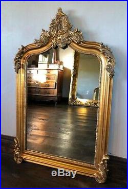 Antique Gold French Gilt Statement Over Mantle Scroll Table Top Arch Wall Mirror