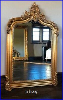Antique Gold French Statement Over Mantle Scroll Ornate Arched Wall Mirror 4ft