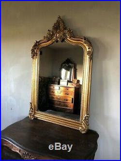 Antique Gold French Statement Over Mantle Scroll Table Top Arch Wall Mirror