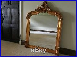Antique Gold French Statement Over Mantle Scroll Table Top Arched Wall Mirror