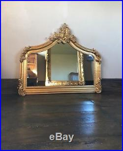 Antique Gold Gilt French Ornate Over Mantle Swept Scroll Top Wood Wall Mirror